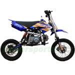 "Coolster QG-214 125cc Dirt Bike with 4-Speed Manual Transmission, Kick Start! 14""/12"" Wheels!"