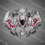 Injection Molded Fit CBR1000RR 04 05 Red Flames Silver Fairing ZN951