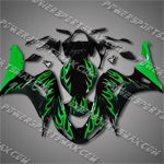 Injection Molded Fit CBR1000RR 06 07 Green Flames Fairing 16N07