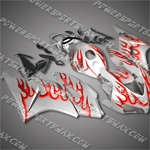 Injection Molded Fit CBR1000RR 04 05 Orange Flames Fairing 14N02