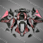 Injection Molded Fit CBR600RR 07 08 Pink Flames Black Fairing ZN1034, Free Shipping!