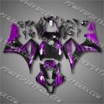 Injection Molded Fit CBR600RR 07 08 Purple Flames Fairing 67N06