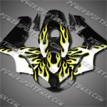 Injection Molded Fit CBR600RR 03 04 Flames Yellow Black Fairing ZN229, Free Shipping!
