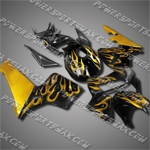 Injection Molded Fit CBR600RR 05 06 Gold Flames Fairing 65N05, Free Shipping!