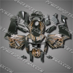 Injection Molded Fit CBR600RR 05 06 Flames Black Fairing ZN702, Free Shipping!