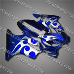For CBR600F4i 04-07 Flames Blue ABS Fairing ZN856, Free Shipping!