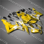 Injection Molded Fit CBR600RR 07 08 Flames Yellow Fairing 67N33
