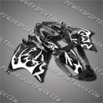 Fit CBR1100XX Blackbird 96-07 White Flames Black Fairing 11N40