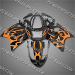 Fit CBR1100XX Blackbird 96-07 Orange Flames Fairing 11N35