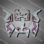 For VFR400 R NC30 89-93 Rose Flames White Fairing ZN1084-handcraft