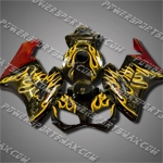 Injection Molded Fit CBR1000RR 04 05 Gold Flames Black Fairing ZN058, Free Shipping!