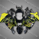 Suzuki Hayabusa GSX1300R 99一07 Gold Flames Fairing, Free Shipping!