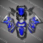 Injection Molded For Kawasaki Ninja EX250 250R 08 09 Flames Blue Fairing 25W03, Free Shipping!