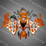 Injection Molded For CBR1000RR 04 05 Silver Flames Orange Fairing ZN947, Free Shipping!