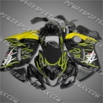 Suzuki Hayabusa GSX1300R 08 09 Yellow Flames Black Fairing ZZ655, Free Shipping!