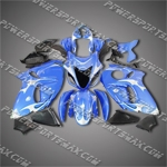 Suzuki Hayabusa GSX1300R 08 09 White Flames Blue Fairing ZZ654