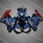 Injection Molded Fit CBR1000RR 04 05 Blue Flames Black Fairing ZN056