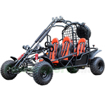 "GK-C17 DF200GKE 4-Seat Go Kart with Fully Automatic Transmission w/Reverse, Big 21""/22"" Tires, Roof Lights, Free Sparetire!"