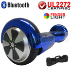 Chrome Blue 3.0 Version UL2272 Certified Hoverboard w/Bluetooth, Fender LED Lights, Carry Bag and Protection Kits! Free Ship!
