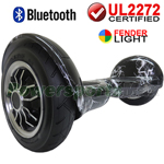 "10"" Black Lightning UL2272 Certified Hoverboard Balancing Scooter, With Bluetooth and Speaker, Fender LED Lights, Free Shipping!"