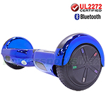 "6.5"" Chrome Blue UL2272 Certified Self Balancing Scooter Hoverboard, Bluetooth Speaker, LED Lights, Free Shipping!"