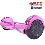 "6.5"" Chrome Pink UL2272 Certified Self Balancing Scooter Hoverboard, Bluetooth Speaker, LED Lights, Free Shipping!"