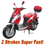 "MC-D07T 50cc 2-Stroke Moped Scooter, 12"" Wheels, Rear Trunk! Super Fast!"
