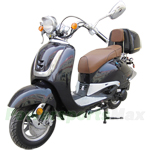 "MC-D16K 50cc Moped Scooter with Retro Style, 10"" Wheels, Rear Trunk!"