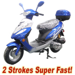 "MC-D26 50cc 2-Stroke Moped Scooter, 10"" Wheels, Rear Trunk! Super Fast!"