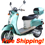 "BMS Federal 50cc Moped Scooter with Classic Style Design, 10"" Wheels, Rear Trunk!Free Shipping! 2015 Year Model!"