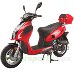 "MC-G011 Valero 50cc Moped Scooter with Sports Style, 12"" Wheels, Electric/Kick Start! Rear Trunk!"