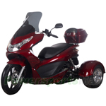 "MC-G016 50cc Trike Scooter with Automatic Transmission, with Windshield and Rear Trunk! Front 14""/Rear 10"" Wheels!"