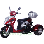 "MC-G017 50cc Trike Scooter with Automatic Transmission, Rear Trunk! Front 12""/ Rear 10"" Wheels!"