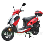 "MC-T07 150cc Moped Scooter with Sports Style, 12"" Black Wheels, Rear Trunk!"