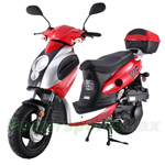 "MC-T07 150cc Moped Scooter with Sports Style, 12"" Black Wheels, Hand Brake! Electric/Kick Start! Rear Trunk!"