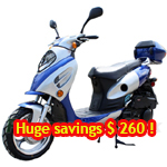 "MC-X25-R352 150cc Moped Scooter with Sporty Style, 13"" Aluminum Wheels and Rear Trunk! New Refurbished, In Crate!"