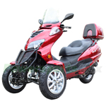 MC-C71 150cc Trike Scooter with Automatic Transmission, with Windshield and Rear Trunk! 12'' Wheels!