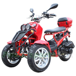 "MC-C72 150cc Trike Scooter with Automatic Transmission, Rear Trunk! Honda Rockus Style! 12"" Wheels!"