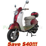 "MC-T05-R200 50cc Classic Moped Scooter, 10"" Wheels, Rear Trunk! Fully Assembled and Tested!"