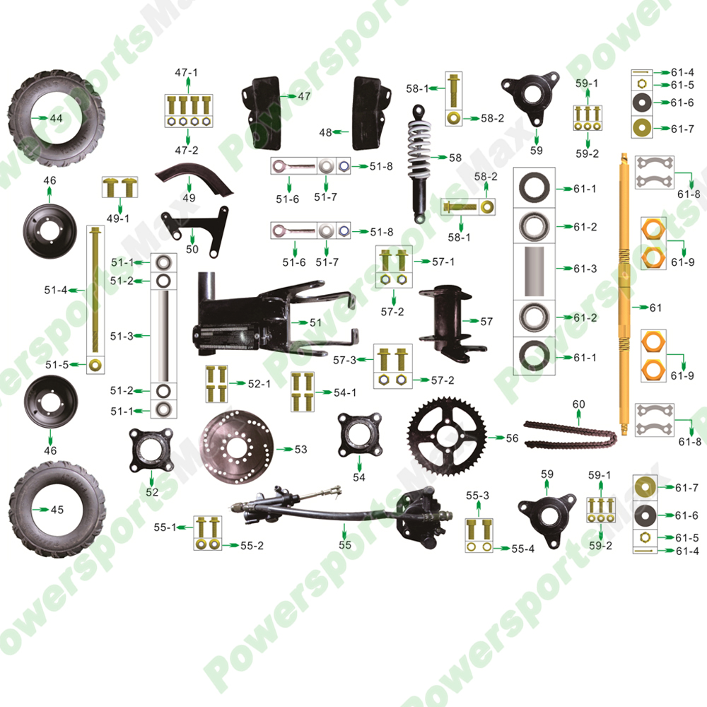 Rear Wheel Assembly ATVs Parts