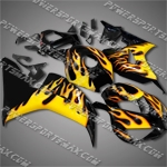 Injection Molded Fit CBR1000RR 06 07 Yellow Flames Black Fairing ZN933, Free Shipping!