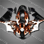 Injection Molded Fit CBR600RR 03 04 Orange Flames Black Fairing ZN226, Free Shipping!