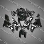 Injection Molded Fit CBR600RR 07 08 White Flames Black Fairing ZN1019, Free Shipping!
