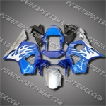 For CBR954RR 02 03 Flames Blue ABS Fairing 95N53, Free Shipping!