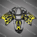 Fit CBR1100XX Blackbird 96-07 Yellow Flames Black Fairing 11N38, Free Shipping!