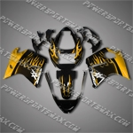 Honda CBR1100XX 96-07 Blackbird Gold Flames Fairing 11N05, Free Shipping!