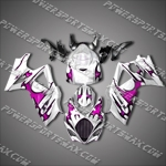 Suzuki GSX-R1000 07 08 K7 Purple Flame Fairing 17Z38, Free Shipping!
