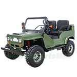 "GK-W014 125cc Jeep Go Kart with 3-Speed Semi-Automatic Transmission w/Reverse, Big 18"" Chrome Wheels! Assembled In Crate!"