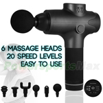 Massage Gun Deep Tissue Percussion Muscle Massager for Pain Relief, Handheld Electric Body Massager with 20 Adjustable Speed, 6 Head, Quiet & Comfortable Muscle Soreness Relieves! Free Shipping!