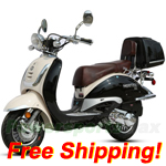 "BMS Heritage 150cc Moped Scooter with 10"" Wheels, Rear Trunk! Made by ZNEN, High Quality! New Arrival 2016 Model! Free Shipping!"